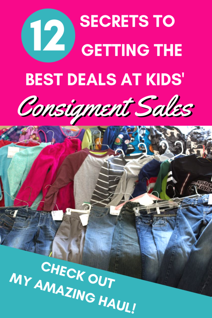 Have you wondered how other moms get the most amazing deals at consignment sales? It's not luck! I'll share with you the secrets to scoring the best deals at kids' consignment sales. #frugal #kids #shopping #thrift #consignment