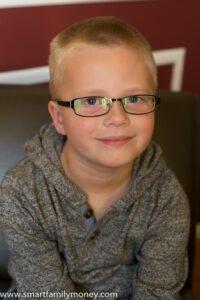 My son in his Zenni glasses.