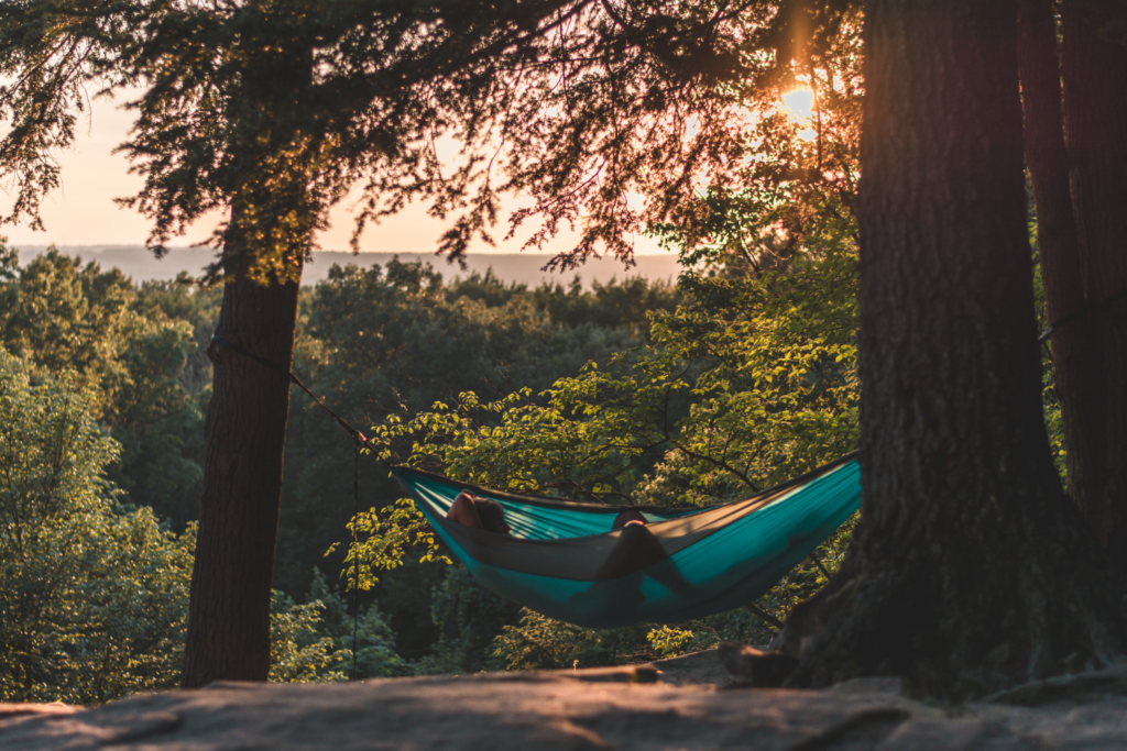 Man relaxing in a hammock in the forest.