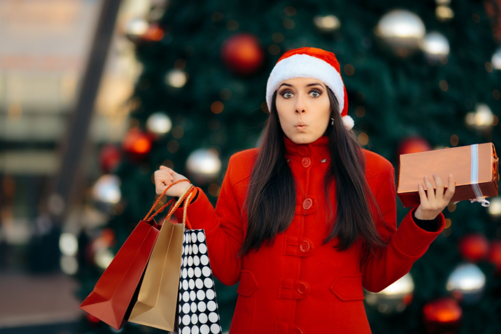 Woman holding her Christmas shopping