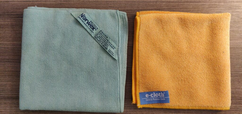 Norwex vs E-cloth, side by side