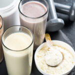 scoops of protein shake mix