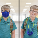 Boy wearing a face mask on his face and boy wearing same mask around his neck