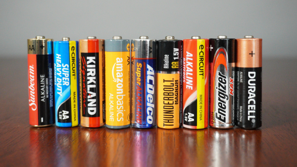 9 AA batteries of different brands